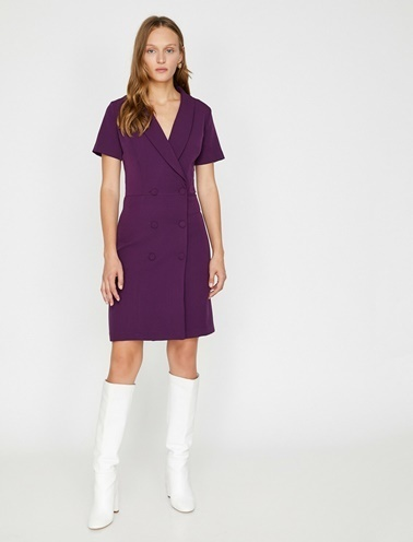 Koton Düğme Detaylı Elbise Mor